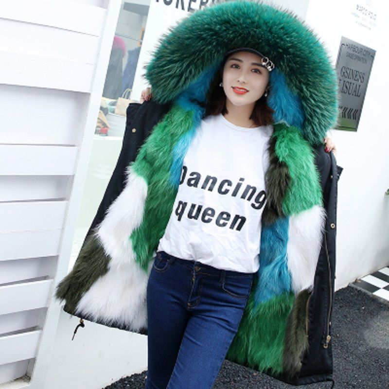 Color Contrast Real Fox Fur Lined Thickening Warm Winter Coats Women Natural Raccoon Fur Collar Hooded Parkas Woman Fur Jackets