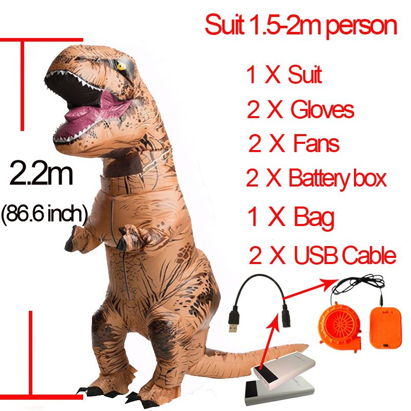 T Rex Inflatable Tyrannosaurus Rex Costume Halloween Pram Children Role Playing Clothing Cosplay Party T Rex Dinosaur Costume