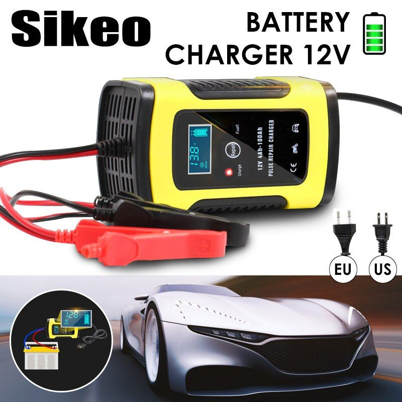 Full Automatic Car Battery Charger 110V To 220V To 12V 6A LCD Smart Fast for Auto Motorcycle Lead-Acid Batteries Charging