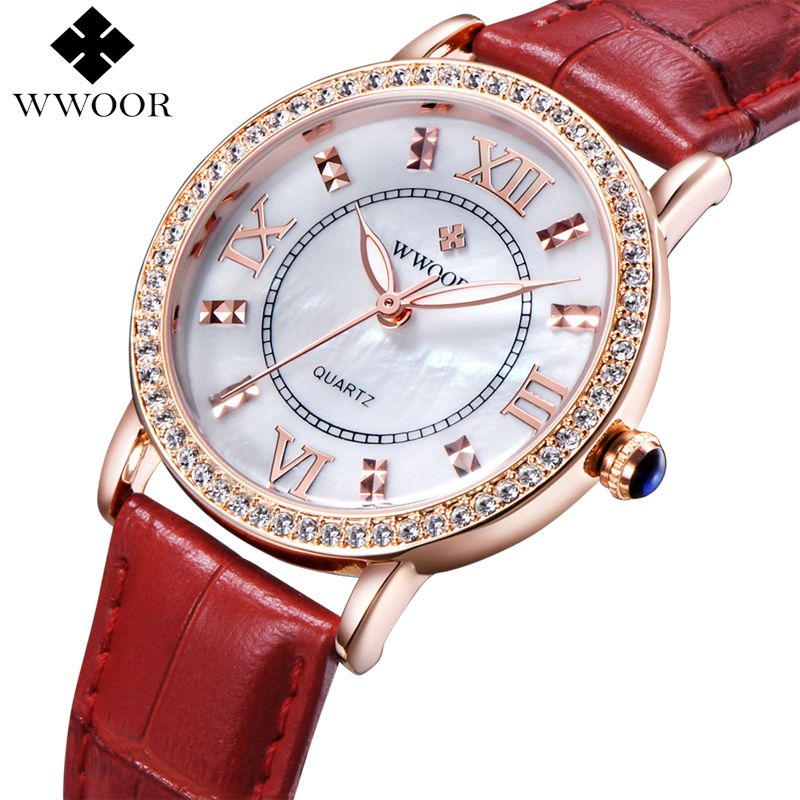 Brand Luxury Women's Watches Red Leather Rose Gold Casual Quartz Watch Ladies Diamonds Clock Women Dress Watch Relogio Feminino