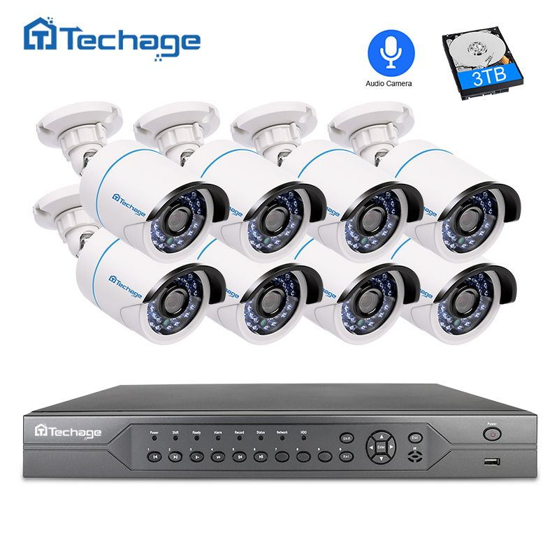 Techage H.265 16CH 2MP 3MP 5MP POE NVR CCTV System 1080P Audio Record Microphone POE IP Camera P2P Video Surveillance System Kit