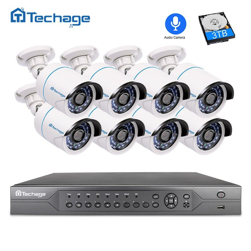 Techage H.265 16CH 2MP 3MP 5MP POE NVR CCTV System 1080P Audio Record Microphone POE IP Camera P2P Video Surveillance System Kit