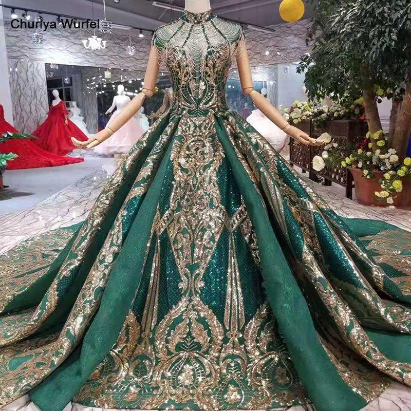 LS11093 luxus grün abendkleider damen high neck cap sleeves kristall party kleid mit goldenen spitze dubai stil echt fotos