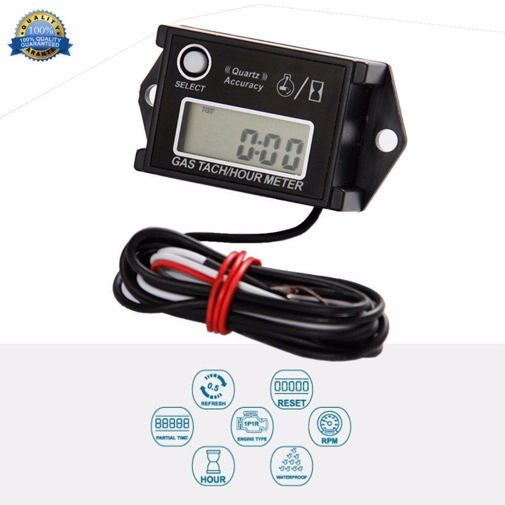 Free Shipping!China Factory Cheap Run Leader tach Hour Meter Tachometer For Gasoline Engine 2/4 Stroke Motorcycle ATV Boat