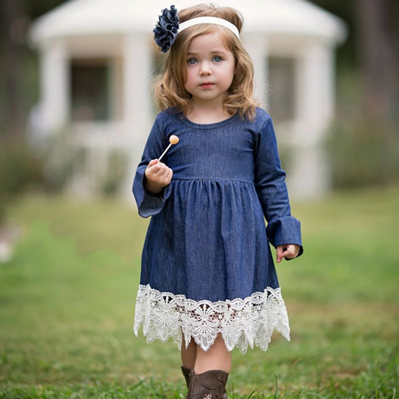 2018 Spring Girls Princess Dress Children Clothing Denim Lace Evening Dress Kids <font><b>Long</b></font> Sleeve Party Dresses Baby Girl Costume