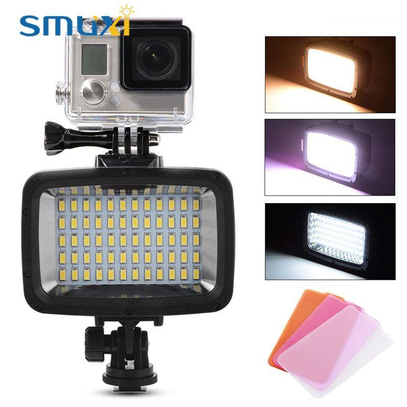 12 Watt 60 LEDs Füllen Licht Wasserdichte Kamera Video Licht Camcorder Lampe 1800LM 40 mt Tauchen mit 3 Filter DC5V-5.5V