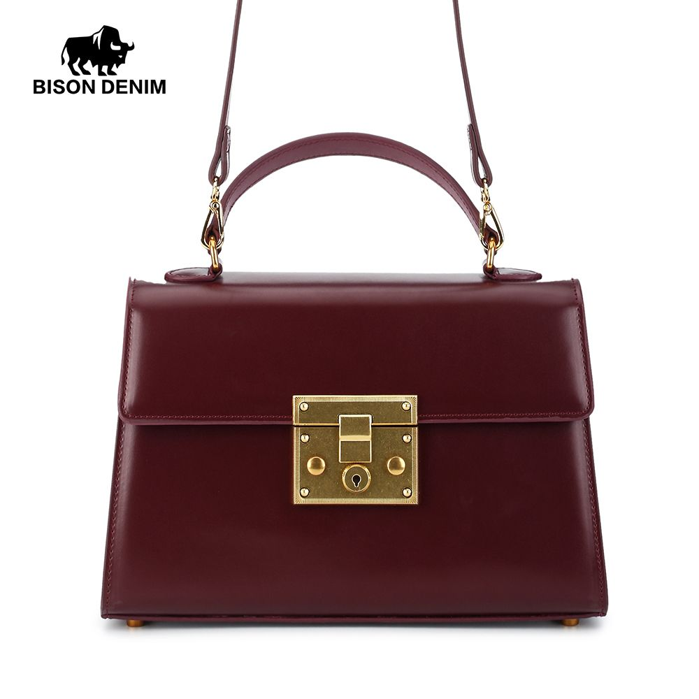 BISON DENIM Women Bags Genuin Leather Crossbody Bag Vintage Fashion Design Women Messenger bags N1400