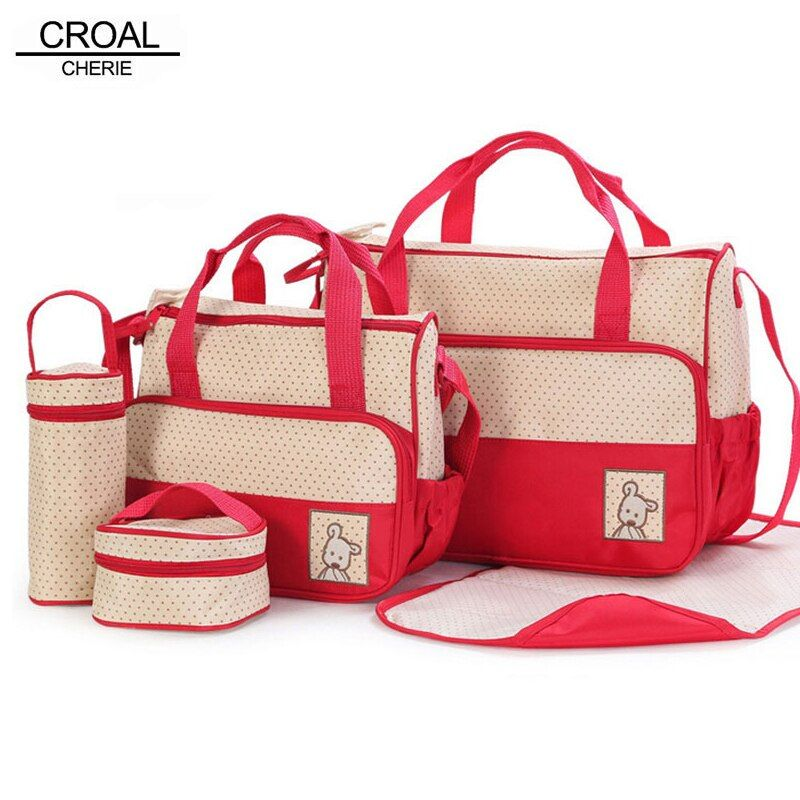 CROAL CHERIE 39*28.5*17CM 5pcs Baby Diaper Bag Suits For Mom Baby Bottle Holder Mother Mummy Stroller Maternity Nappy Bags Sets