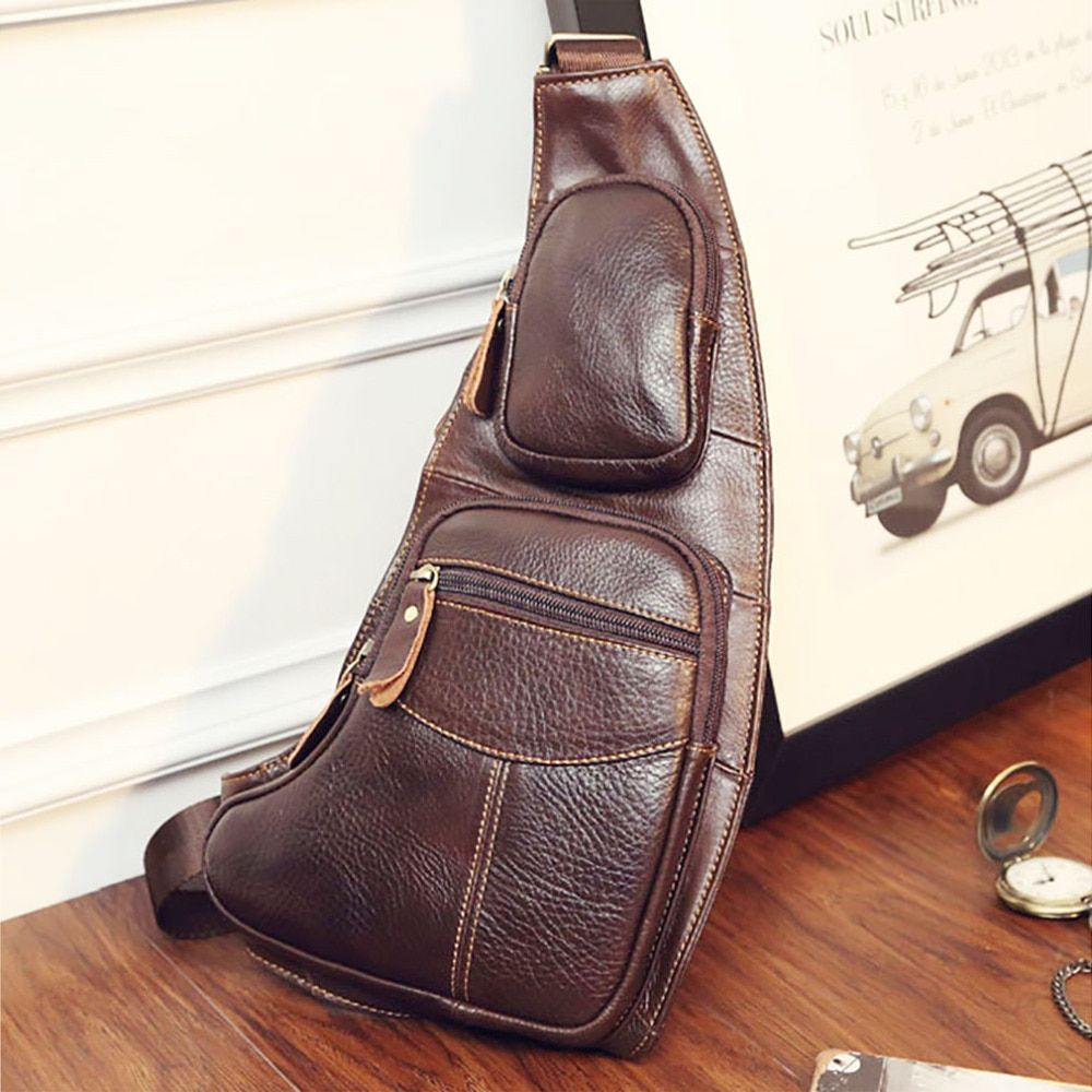 High Quality Men Genuine Leather Cowhide Vintage Sling Chest Back Day Pack Travel fashion Cross <font><b>Body</b></font> Messenger Shoulder Bag
