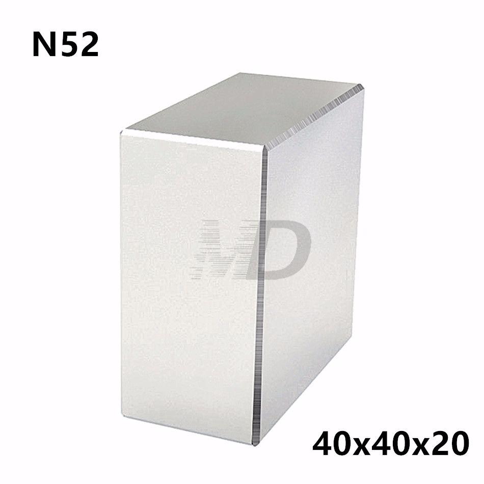 1 pièces bloc 40x40x20mm Super fort N52 haute qualité terres rares aimants néodyme aimant