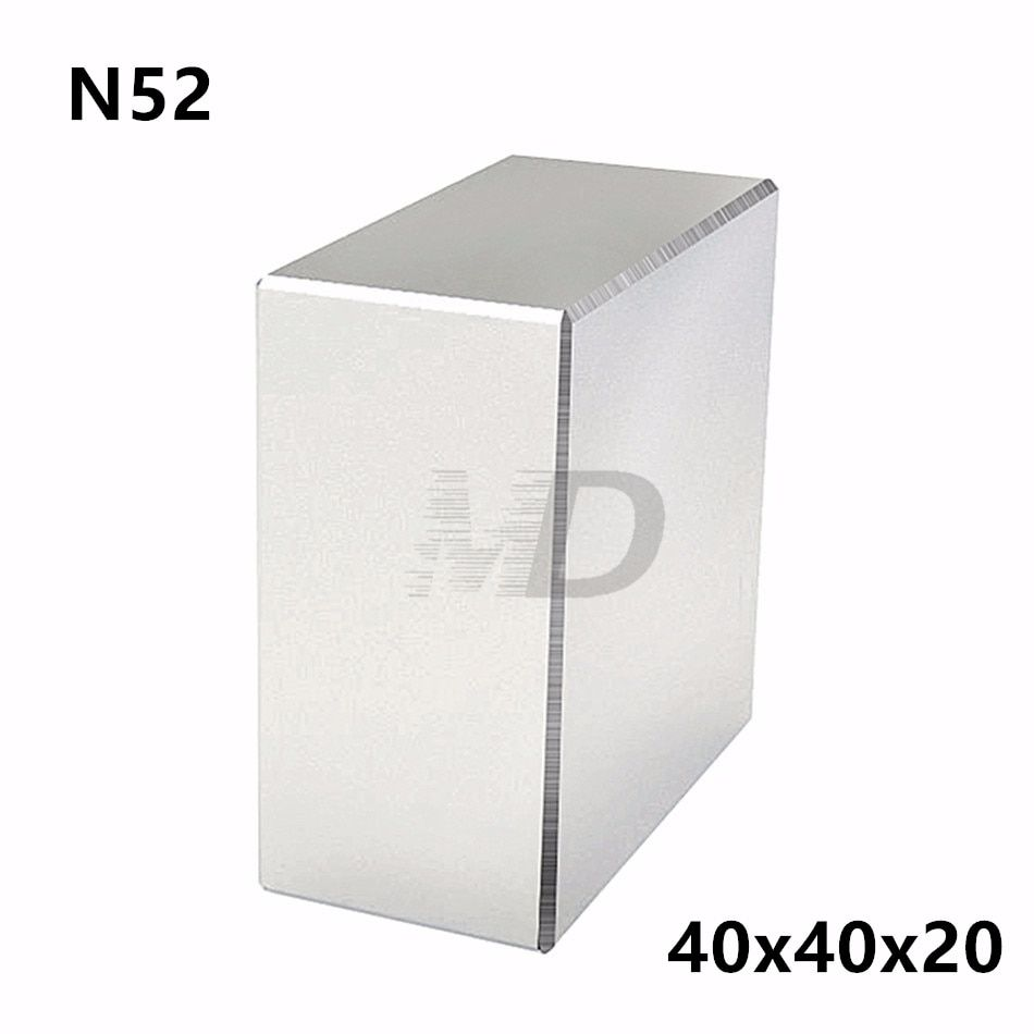 1pcs Block 40x40x20mm Super Strong N52 high quality Rare Earth magnets Neodymium Magnet