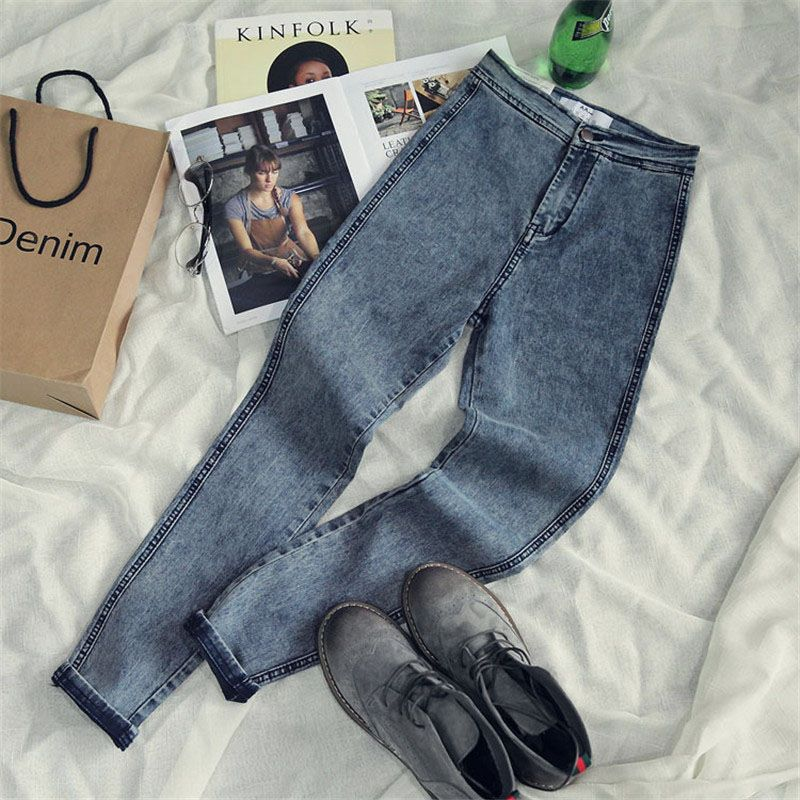 High Waist Jeans For Women Casual Stretch Female Pencil Jeans <font><b>Lady</b></font> Vintage Denim Pants Slim Elastic Skinny Trousers 2017 spring