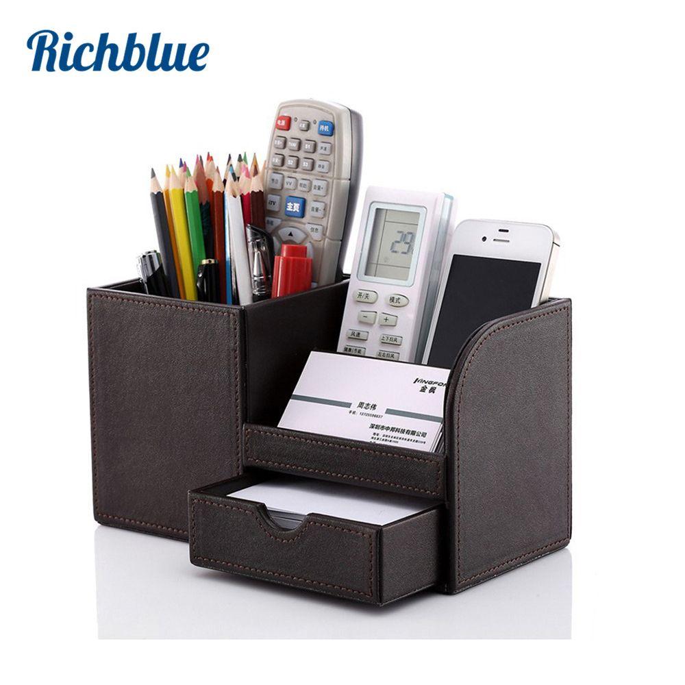 Plein PU cuir stylo crayon support de la boîte Case bureau papeterie organisateur boîte de rangement 4 couleurs fournitures de bureau