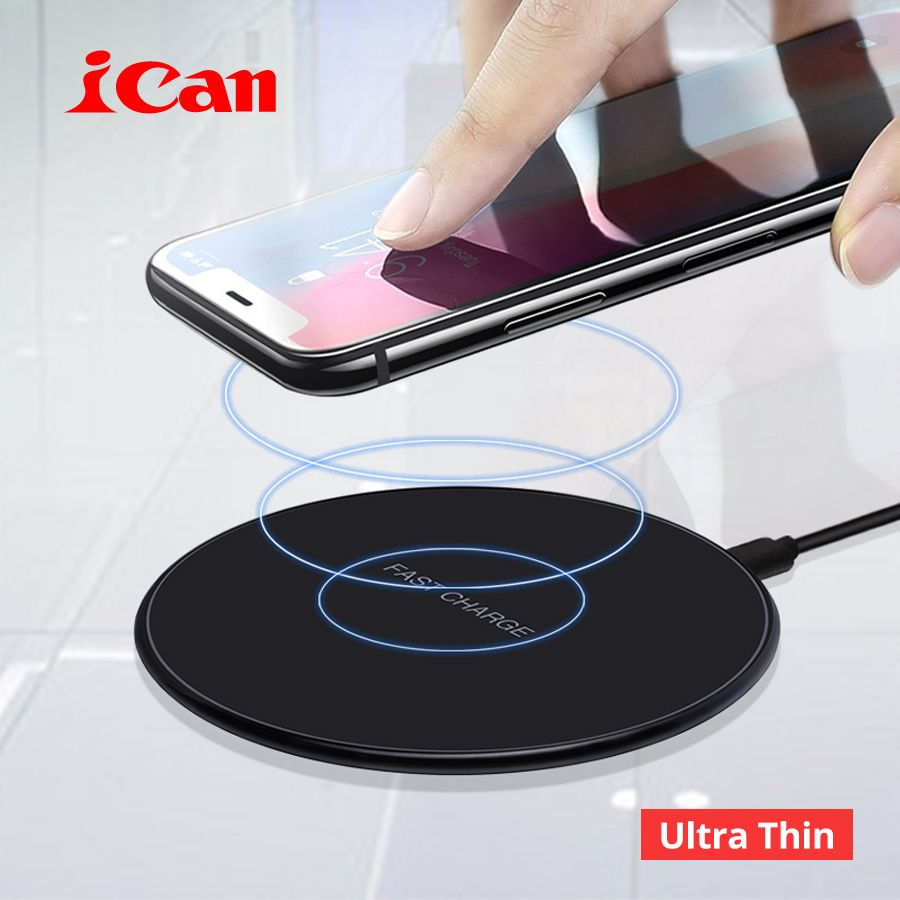 iCan 10W Qi Fast Wireless Charging Pad for Samsung Galaxy S9/S8/S8+/S7Edge 7.5W Ultra Thin Wireless Charger for iPhone X/8/8Plus