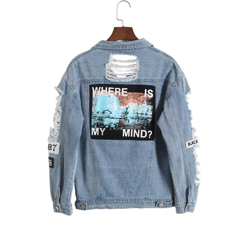 Korea retro washing frayed tattered embroidery letter loose back patch jeans jacket