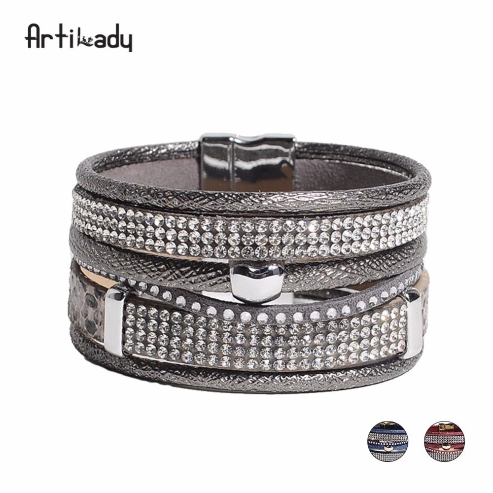 Artilady pu leather crystal charm bangles grey red blue multi layer bracelets for women jewelry gift