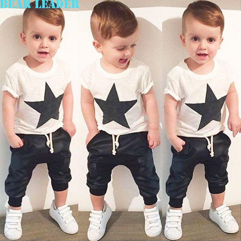 Bear Leader/2018 г. летний Стиль Одежда для маленького мальчика Модный комплект одежды для маленькой девочки повседневная пентаграмма футболка с п...