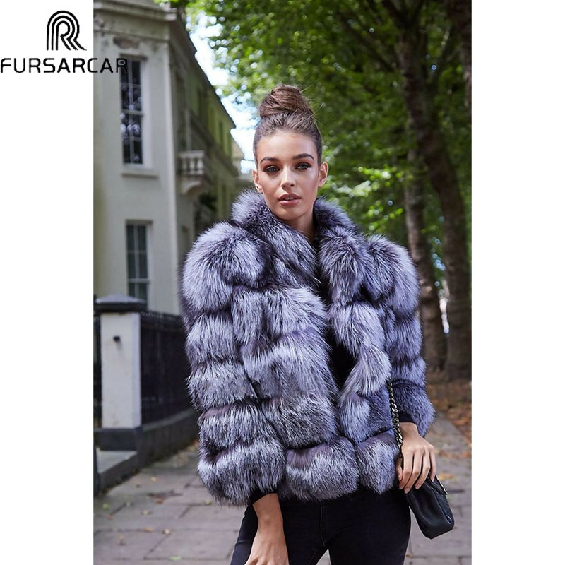 FURSARCAR Neue Unten Mantel frauen Winter Luxuriöse Schlank Fuchs Pelz Jacke Natürliche Pelz Outwear Echt Silber Fuchs Pelz Mantel & pelz Kragen