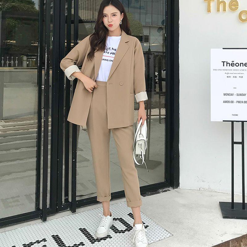 BGTEEVER décontracté solide femmes pantalon costumes col cranté Blazer veste & pantalon crayon kaki femme costume automne 2019 haute qualité