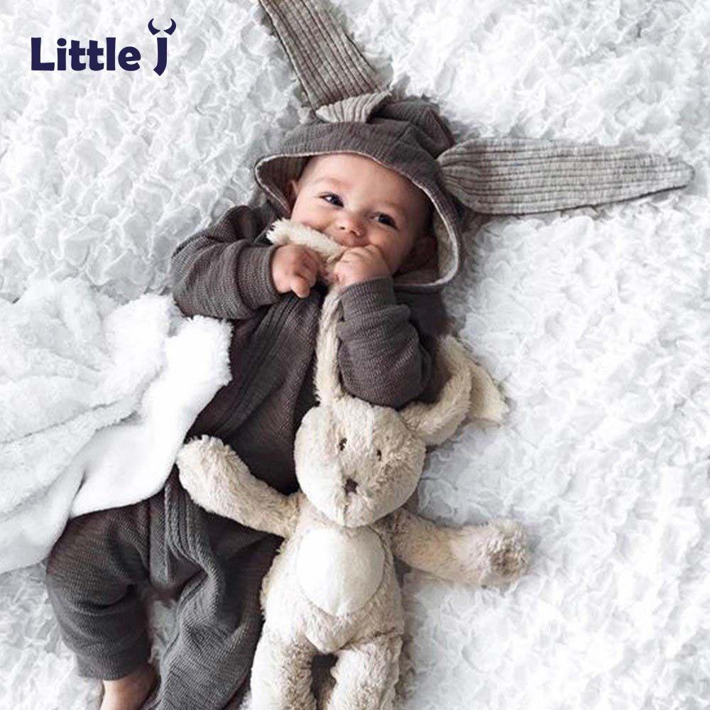 Маленькие J Детские теплые заячьими ушками Комбинезоны для малышек осень-зима младенческой Кролик Стиль комбинезон хлопок Обувь для мальчи...