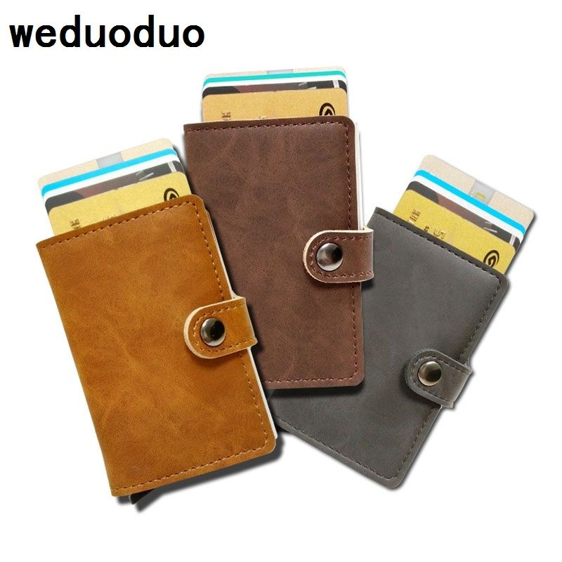 weduoduo Men Credit Card Holder Fashion PU Leather Metal Card Holder With RFID Card Case Automatic Money Cash Clip Mini Wallet