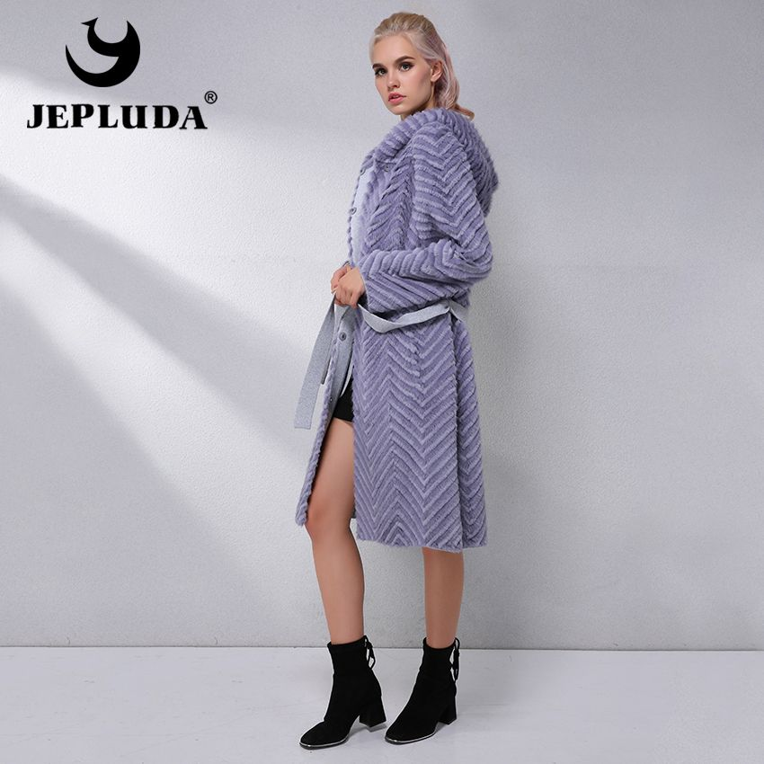 JEPLUDA Elegant Natural Real Fur Coat Women Clothes Hooded Soft Warm Real Mink Fur With Rex Rabbit Fur Coat Winter Jacket Women