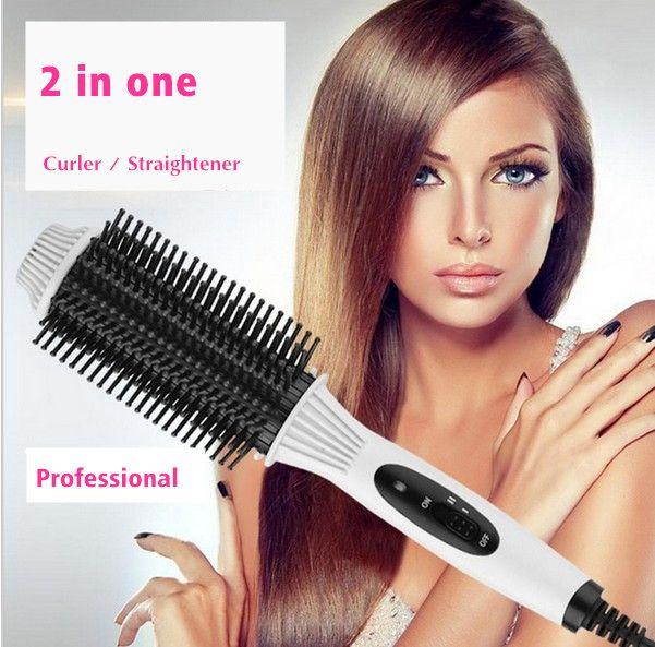 2in1 выпрямления гребень Выпрямление Утюги Утюг расческа быстро электрическая щетка гребень выпрямитель для волос инструмента бигуди