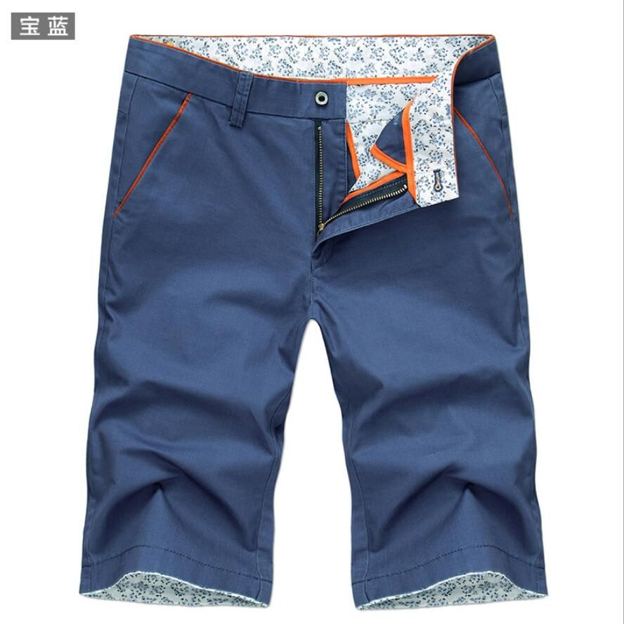 Summer men's cotton cuffs midweight trousers solid color casual teenager half jeans male Slim beach travel short pencil pants