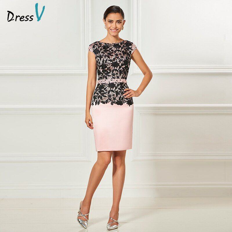 Dressv scoop neck pink cocktail dress cap sleeves sashes elegant knee length wedding party formal dress lace cocktail dresses