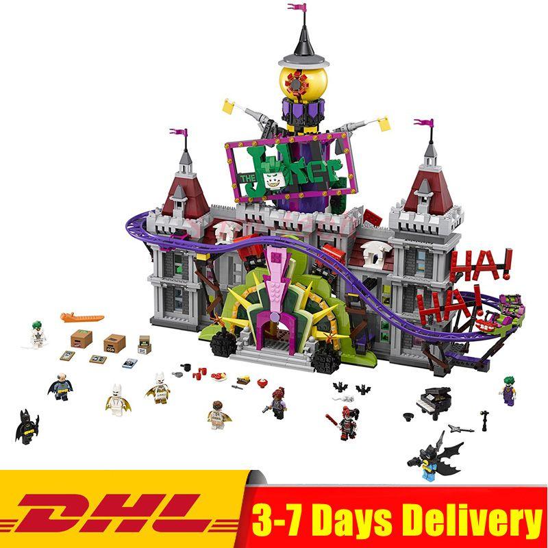 2018 Hot Lepin 07090 Super Hero The Joker`s Manor Set Compatible 70922 Model Building Blocks Bricks Toys for Block Fans Gift