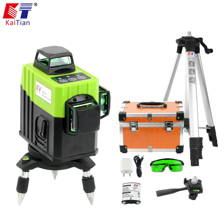 Kaitian Green Laser Level 12 Lines Nivel Laser 3D 360 Rotary with Receiver Bracket Tripod for Lazer Level 3D Construction Tools