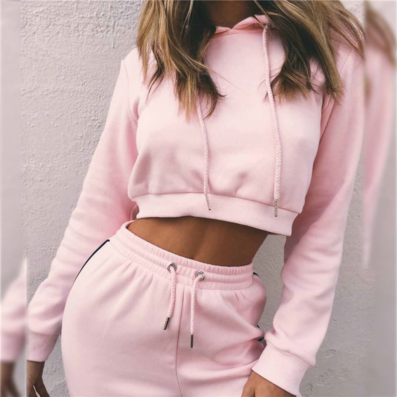 Women's Tracksuits 2 <font><b>Piece</b></font> Set Pink Crop Top And Pants Fashion 2018 Autumn Casual Lady Tumblr Long Sleeve Hoodies Pants Suit