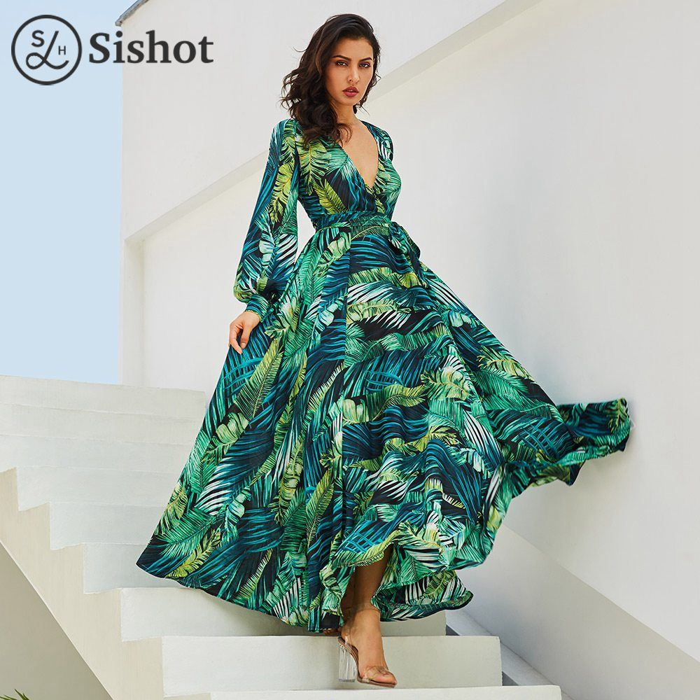 vestido Summer Tunic V neck Chiffon BeachDress Tropical Leaf Print Green maxi Dresses Long Sleeve Plus Size Loose Vintage Dress