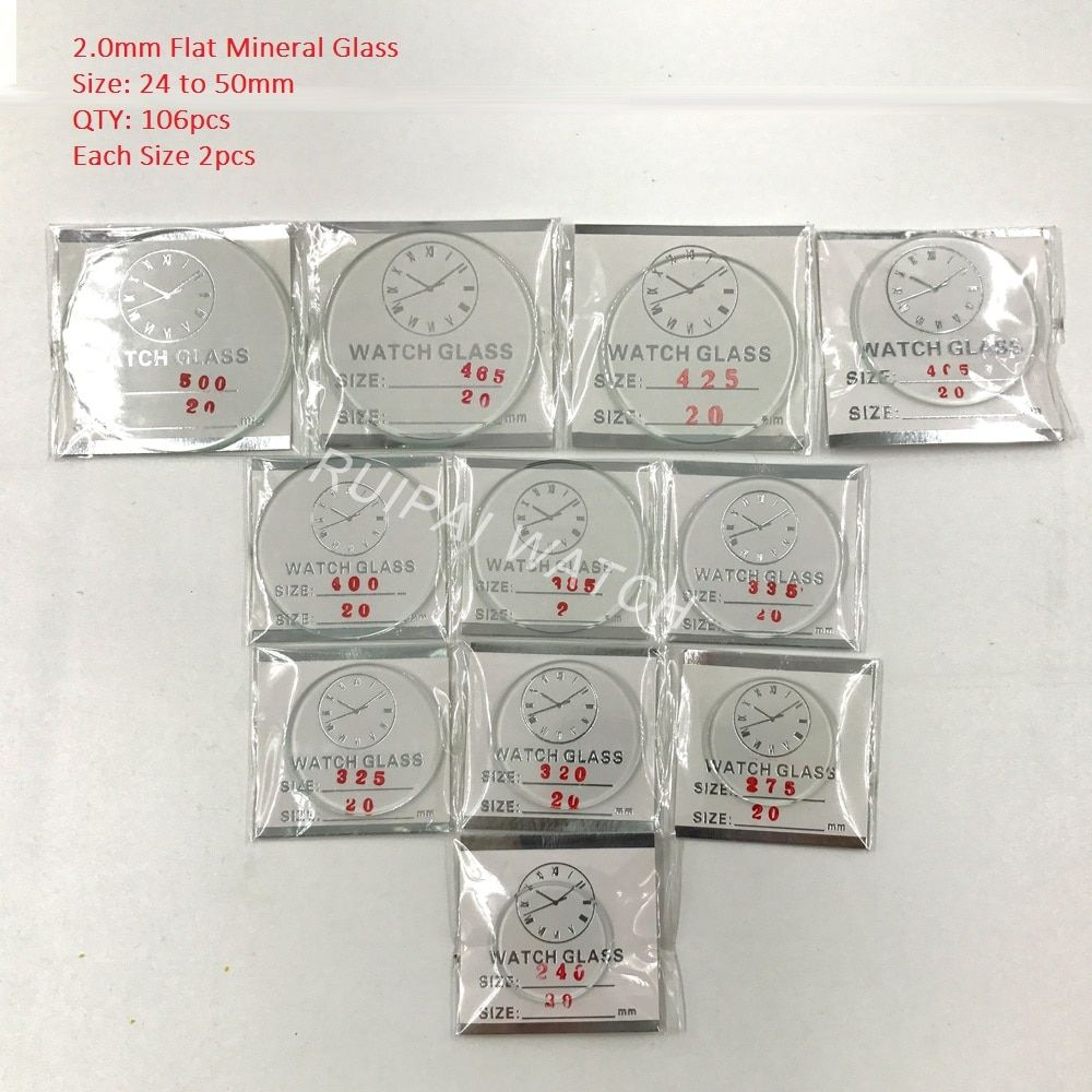 Wholesale 106pcs 2.0MM Thick Flat Mineral Watch Glass Select Size from 24mm to 50mm for Watchmakers and Repair