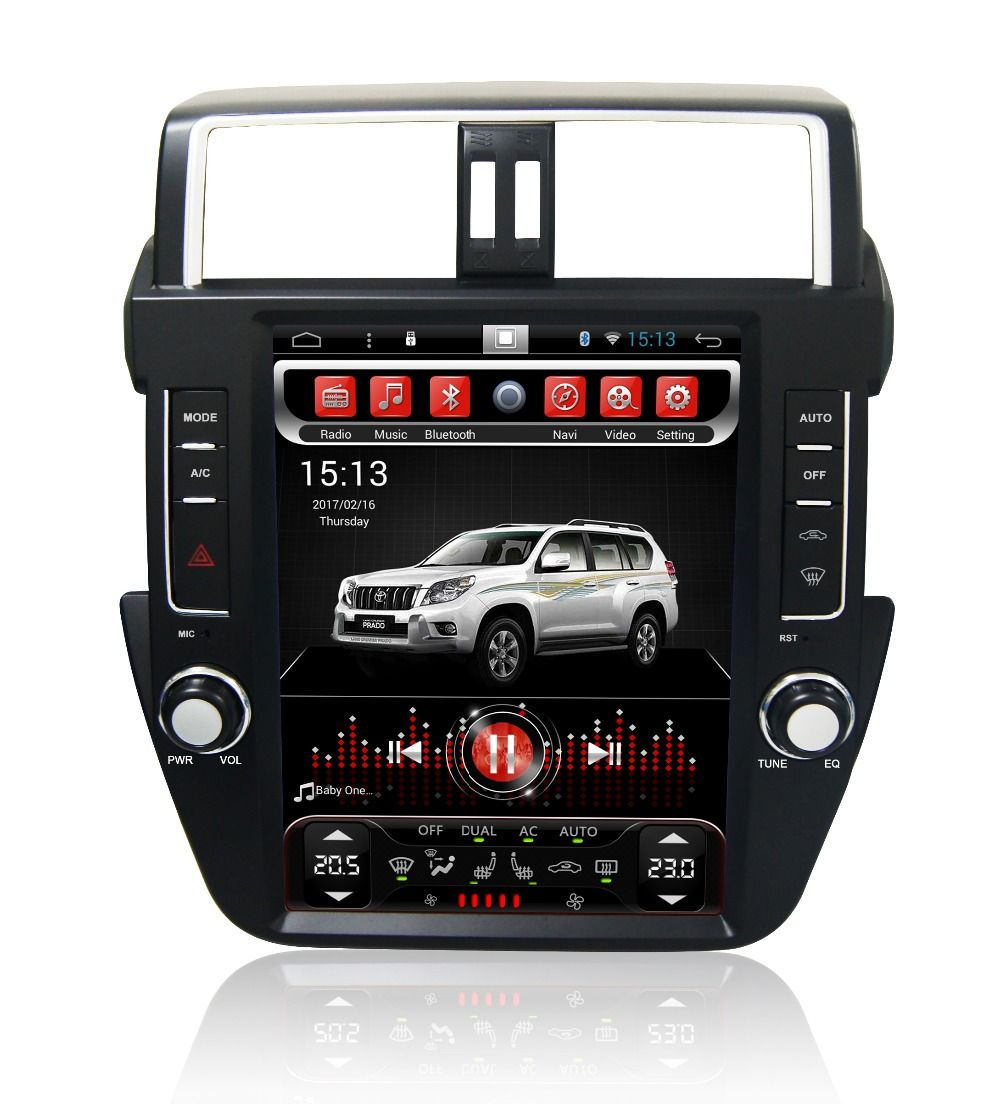 Navirider Android 7.1 radio band recorder 4-Core 2 gb RAM 32 gb rom tesla vertikale bildschirm für Toyota Prado 2017 auto kopf einheiten