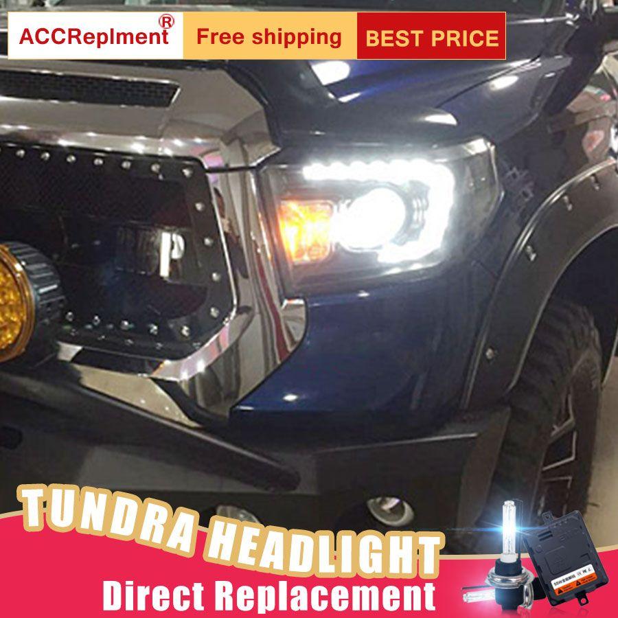 2Pcs LED Scheinwerfer Für Toyota Tundra 2009-2011 led auto lichter Engel augen xenon HID KIT Nebel lichter LED Tagfahrlicht