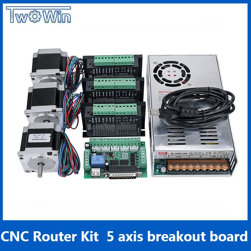 3Axis CNC Router Kit , 3 pcs TB6600 4A stepper motor driver + Nema23 motor57HS5630A4+ 5 Axis Interface board+ Power Supply