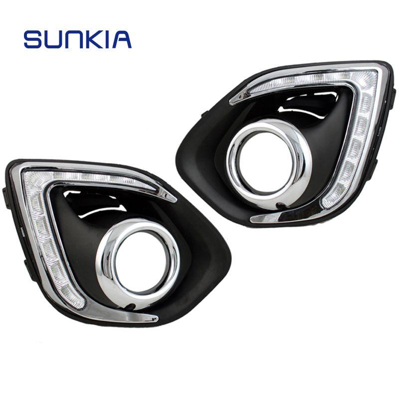 SUNKIA Car LED DRL Daytime Running Light with Fog Lamp Hole for Mitsubishi ASX 2013-2015 White Light + Amber Turn Signal