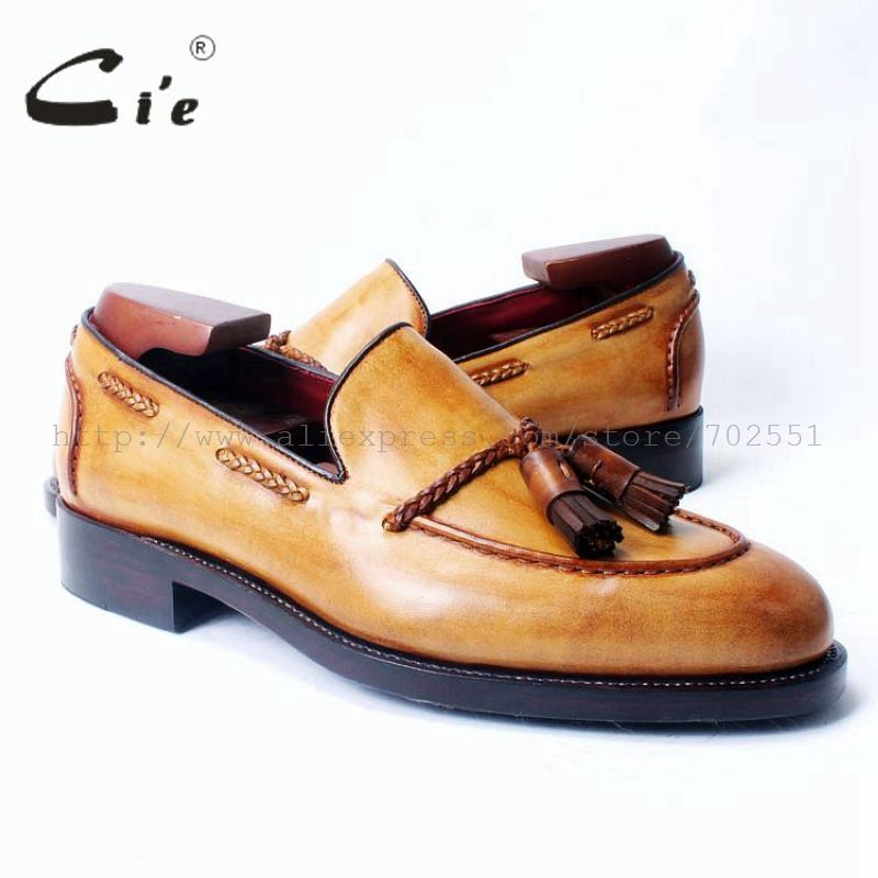cie Free Shipping Round Toe Goodyear Welt Craft Handmade Tassel slipon Casual Calfskin Color Brown Leather Men's shoe Loafer 54