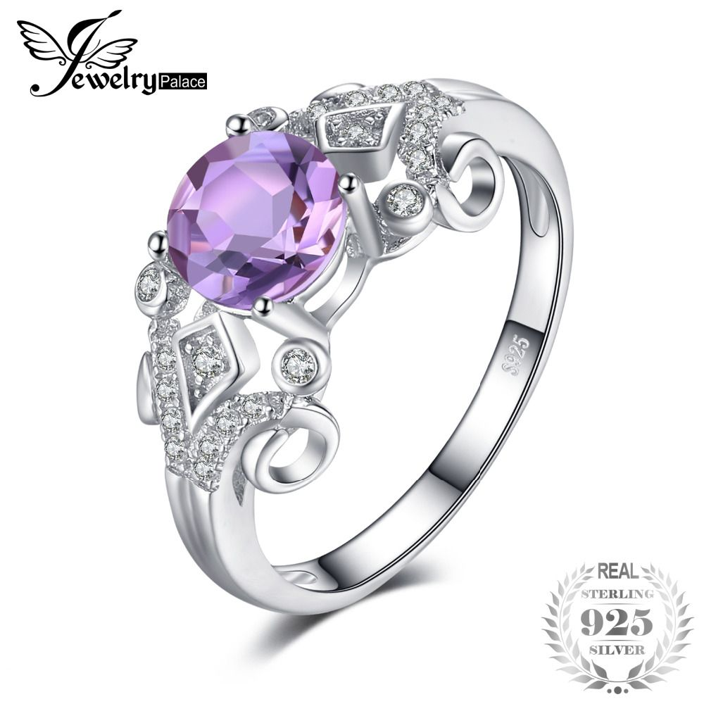 JewelryPalace Vintage Style 1ct Genuine Oval Amethys Anniversary Engagement Ring 925 Sterling Silver Jewelry for Women