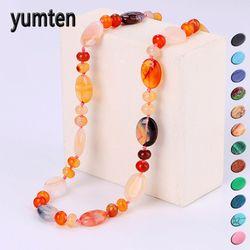 Yumten Star Vintage Women Necklace Set Crystal Power Natural Stone Chain Charm Gemstone Reiki Healing Men Statement Fine Jewelry