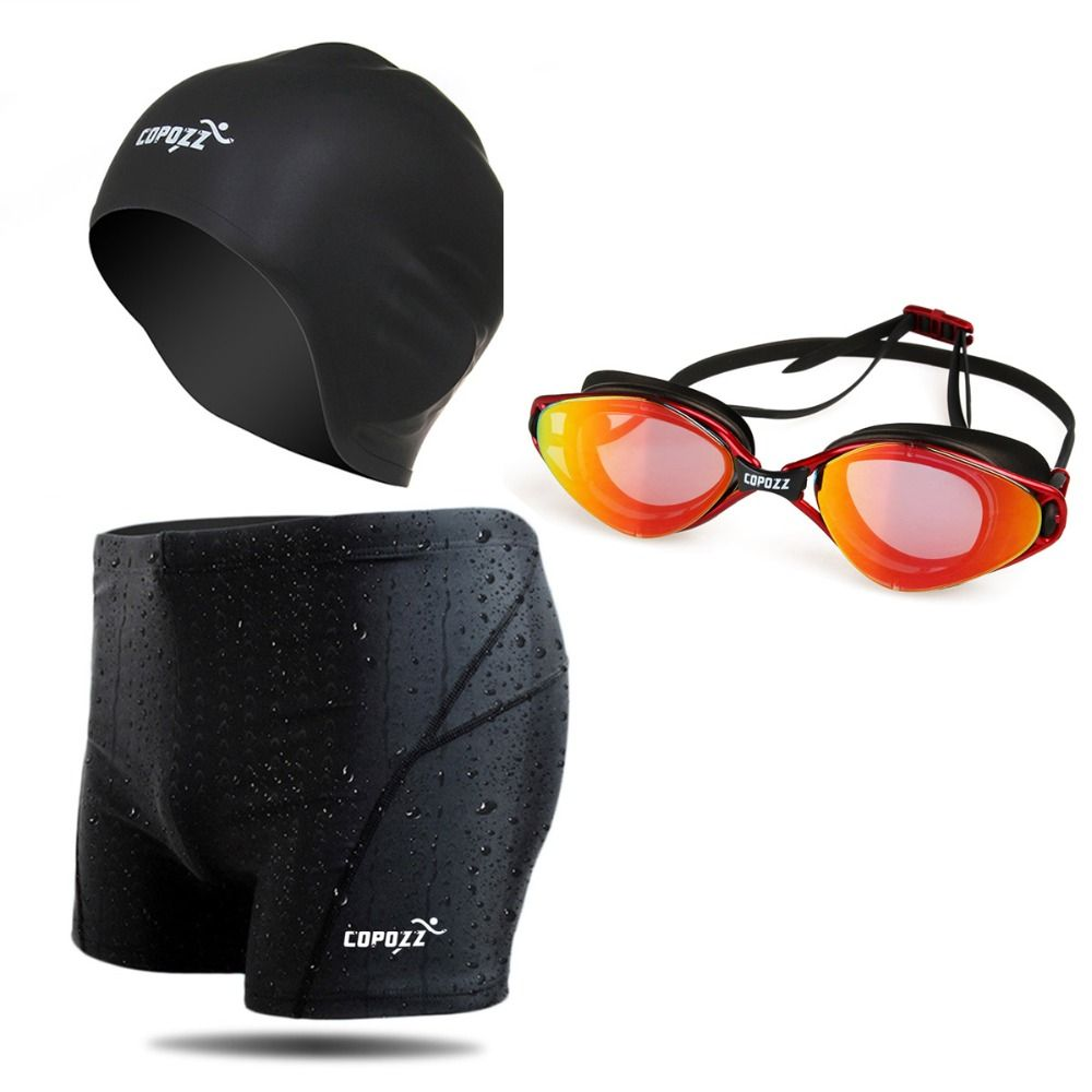 Copozz Brand Professional Swimming Set Swimming Goggles Swim Caps Swim Shorts Set for Men