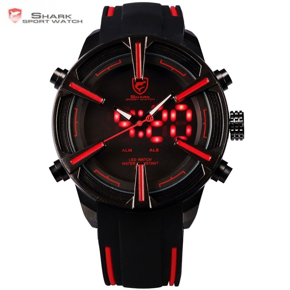 Dogfish Shark Sport Watch Hot Digital Red LED Calendar Alarm Military Mens Fashion Silicone Strap Wristwatches Clock Gift /SH384