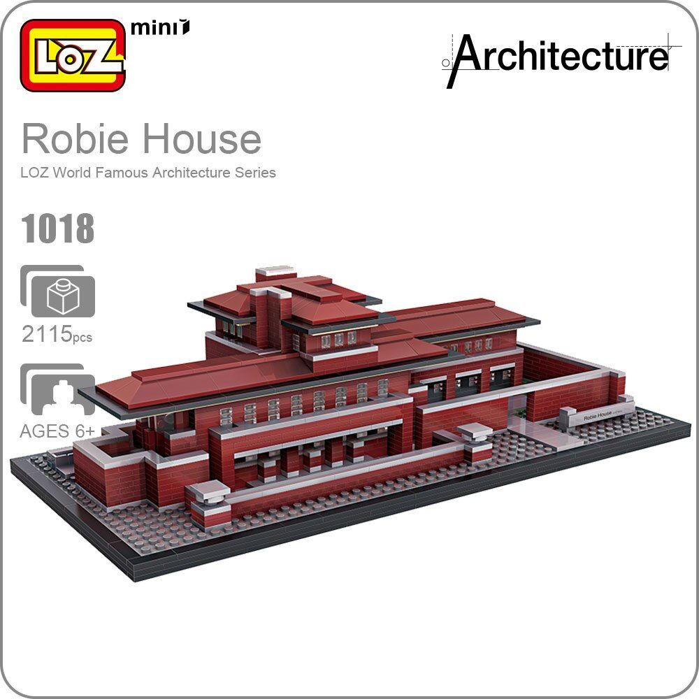 LOZ Blocks Architecture Robie House Model Build Kits Mini Blocks Diy Building Toys World Famous Architectures Villa Blocks 1018