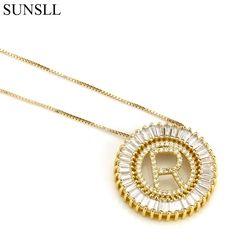 SUNSLL oro/Color negro cobre blanco cúbico Zirconia 26 carta collares pendientes de las mujeres moda joyería CZ Colar Feminina