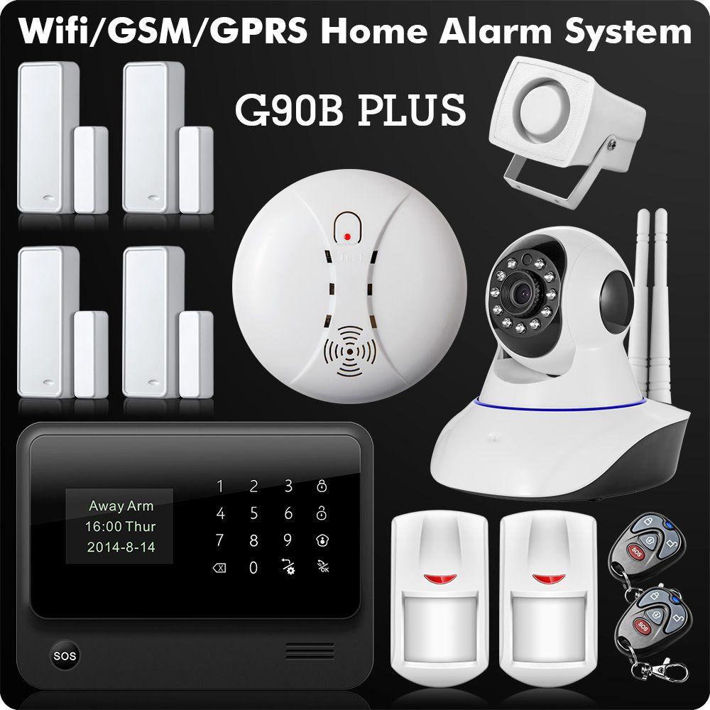 2018 WiFi Alarm GSM GPRS SMS Wireless Home Security Intruder Alarm System with HD Wifi IP Camera Smoke Detector