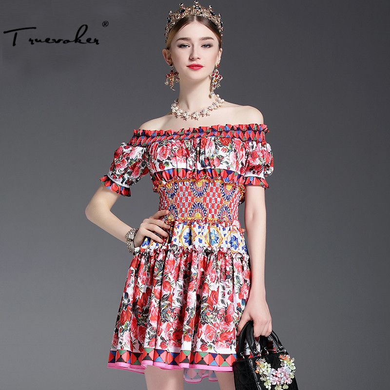 Truevoker Designer Dress Women's High Quality Slash Collar Off The Shoulder Puff Sleeve Colourful Floral Printed Cute Dress