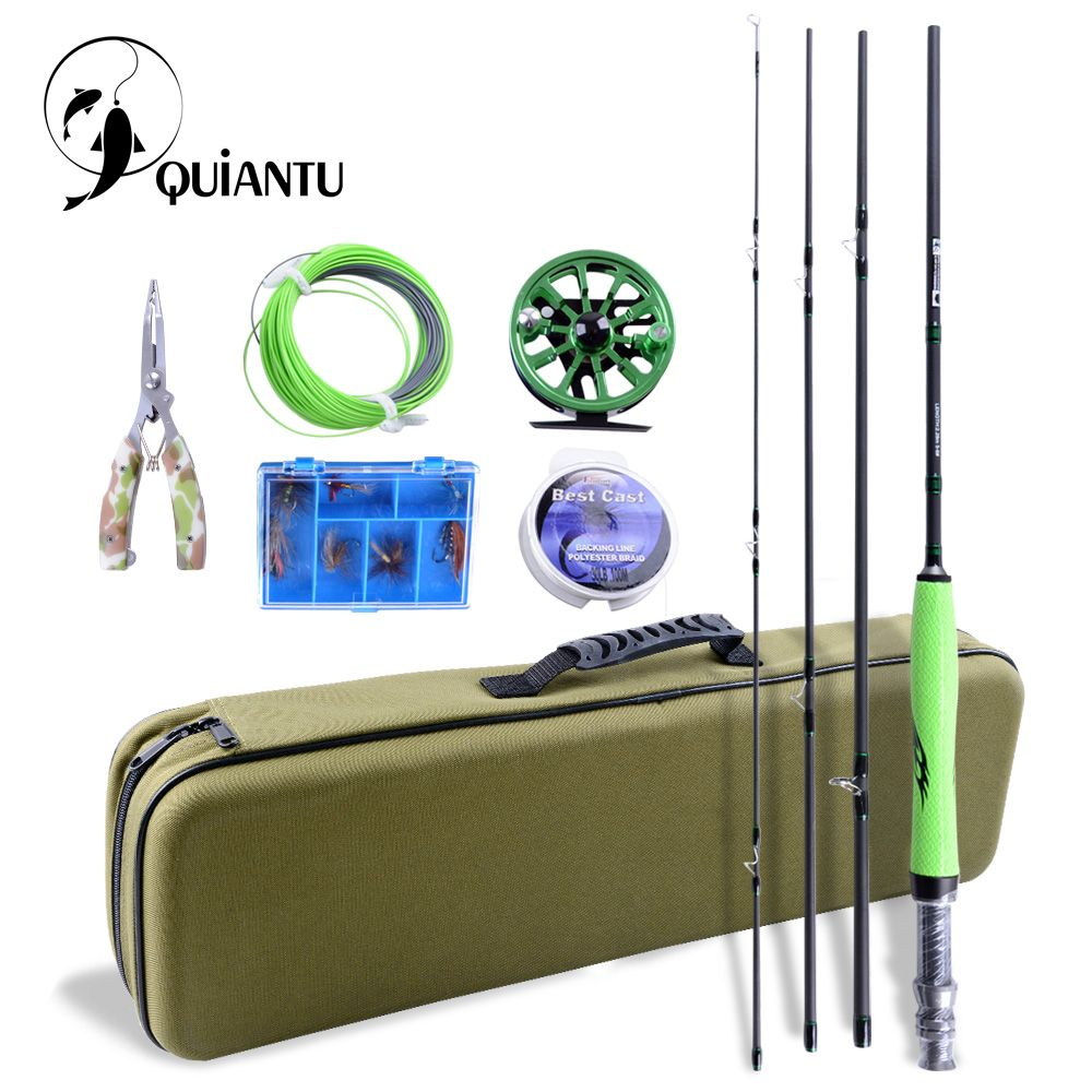 QUIANTU Fly Fishing Kit 2.28M/2.7M Fly Fishing Rod 5/6 WT CNC Precision Aluminum Fly Reel Pesca Fishing Lures Fly Fishing Line