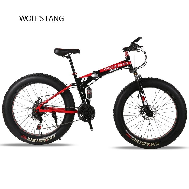 wolf's fang Folding <font><b>Mountain</b></font> Bike 21/24 speed 26X4.0 inch fat bike Snow bicycle brand Front and Rear Mechanical Disc Brake