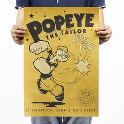 Popeye the Sailor Vintage Kraft Paper Classic Movie Poster Magazine   Art  Cafe Bar Decoration Retro Posters and Prints